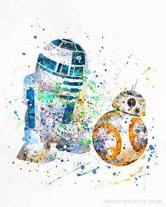 BB8 and R2D2, Star Wars Watercolor Wall Art Print. Prices from $9.95. Available at www.InkistPrints.com - #inkistprints #watercolor #starwars #starwarsfan #poster #print #christmasgift #weddinggift #starwarsdecor #starwarsart #fathersdaygift #painting #dormdecort #giftidea #giftforhim #homedecor #giftforson #BB8 #r2d2