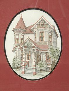 Vintage Debbie Patrick Victorian House art print by ShoponSherman, $59.00