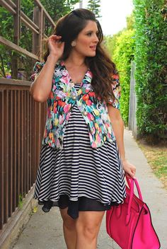 Tanya Dempsey (NovemberGrey.com) in a striped tee and vintage floral cropped jacket -- mixing prints at it's best!