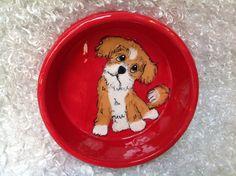 Hand Painted Dog Bowl / Ceramic Dog Bowl / Custom Dog bowl / Dog Pottery / Debby Carman / Faux Paw Productions by FauxPawProductions on Etsy