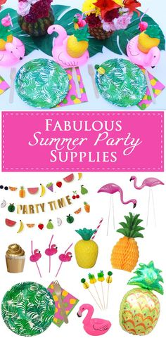 Fabulous Summer Party Supplies for a Flamingo Party or a Pineapple Party!  They are perfect for a Pool Party!