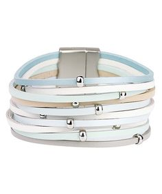 Look what I found on #zulily! Blue & Beige Leather Beaded Multistrand Bracelet #zulilyfinds