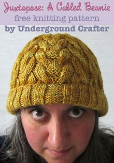 Juxtapose: A Cabled Beanie, free #knitting pattern by Marie Segares @ucrafter