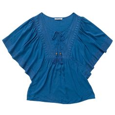 Hot Options Embroidered Front Kaftan Top - Aqua