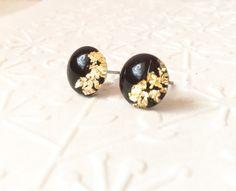 black & gold leaf flakes round stud earringsglass stud earrings tiny stud earrings black and gold studsresin stud earringsdainty studs (15.90 EUR) by skietromart
