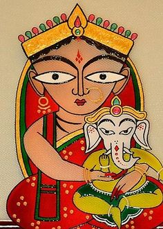 Jamini Roy: Parvati and Ganesha Ganesha Painting, Ganesha Art, Krishna Art, Lord Ganesha, Madhubani Art, Madhubani Painting, Indian Folk Art, Indian Artist, Fabric Painting