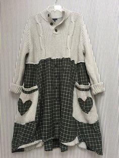 Upcycled Plus Size Sweater Dress , Oversized Thick Chunky Cotton Cable Knit Sweater , Patchwork Plaid Flannel Appliqué Artsy Clothing Plus Size Sweater Dress, Cable Knit Sweater Dress, Cotton Sweater, Plaid Flannel, Flannel Shirt, Color Combinations For Clothes, Gap Brand, Diy Clothes, Clothes For Women