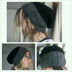 Grey and Black Slouchy Hat (comissioned)