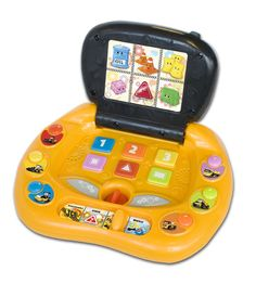 JCB Laptop  Age: 2+  Learn about shapes, colours and quantities. Six backlit sections represent a different object with a colour, shape or quantity.  Four game modes: Discovery, Quiz 1, Quiz 2 and Music. Two musical keys and a sound effect for pure fun.   Six character keys and number keys.