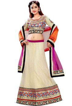 Cream Net Lehenga Choli With Embroidery Work..@ fashionsbyindia.com #designs #indian #fashion #womens #style #cloths #fashion #stylish #casual #fashionsbyindia #punjabi #suits #wedding #lehenga #choli