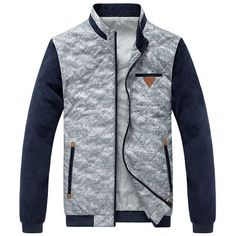 Stand Collar Color Block PU-Leather Spliced Long Sleeve Elbow Patch Men's Jacket | NastyDress.com