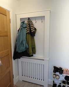 Hallway ideals - radiator covered and coats hung up getting dry! You can come to our showroom in Congleton or our design team can come to you! Hallway Decorating, Interior Decorating, Hall Tiles, Hallway Flooring, Hallway Storage, Radiator Cover, Inspire Me Home Decor, Cabinet Makers, Handmade Home