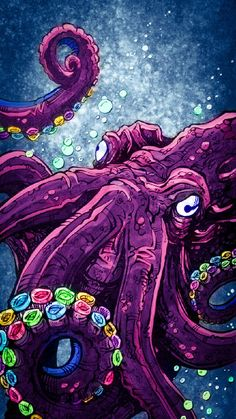Colorful Octopus wallpaper by - fe - Free on ZEDGE™ Octopus Artwork, Octopus Drawing, Octopus Painting, Rainbow Wallpaper, Wallpaper Iphone Cute, Colorful Wallpaper, Wallpaper Backgrounds, Wallpaper Animes, Psy Art