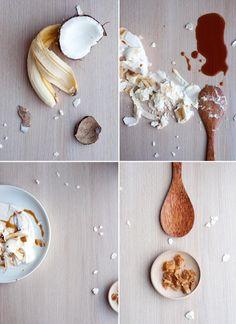 Banana, coconut and caramel pavlova