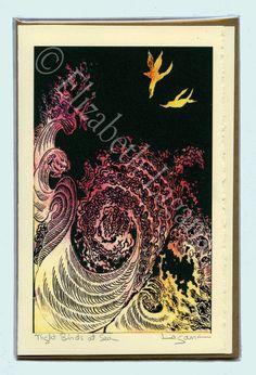 Night Birds at Sea,  3 Lagana Greeting cards, digitalized from Lagana's linoleum block prints