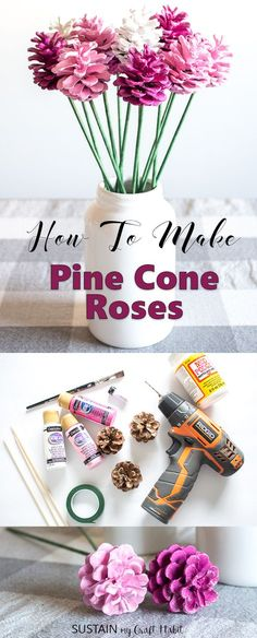 DIY Pine Cone Roses Make your own pine cone roses with this fun and simple tutorial by Sustain My Craft Habit. A beautiful, budget-friendly rustic farmhouse decorating idea for Valentine's, Mother's day a baby shower or more. Pine Cone Decorations, Valentine Decorations, Valentine Crafts, Kids Valentines, Table Decorations, Pink Crafts, Diy And Crafts, Baby Crafts, Decor Crafts