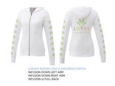 Love the Fusion Decorating on this Slub fabric Lightweight Zip Up