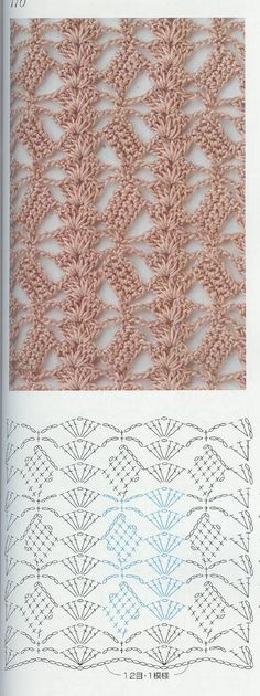 Crochet lace ground stitch with diagram ~~ oblique blocks and shell columns ~~ from Crochet patterns book 300 Crochet Stitches Patterns, Crochet Designs, Stitch Patterns, Knitting Patterns, Crochet Diagram, Crochet Chart, Crochet Motif, Confection Au Crochet, Crochet Diy