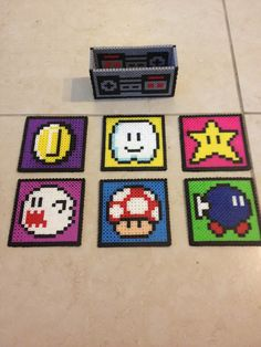 Mario coasters perler beads by Heather Bergstedt