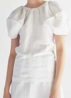 Short Sleeves Top in Soft Viscose and Linen Canvas - Spring / Summer Collection 2017 | CÉLINE $1450