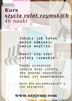 jak uszyć roletę rzymską, kurs szycia, nauka, Poznań