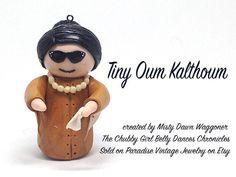 Tiny Oum Kalthoum Clay Charm Ornament by ParadiseVintageJewel
