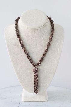 Bronze Beaded Tassel Necklace - Millay