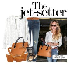 """""""Get the Look: Chrissy Teigen LAX Airport Style"""" by sharmarie ❤ liked on Polyvore featuring J Brand, Majestic Filatures, Ermanno Scervino, Rebecca Taylor, CÉLINE, Passport, Case-Mate and Maison Margiela"""