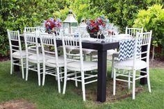 white chiavari chairs & dark wood table #nautical