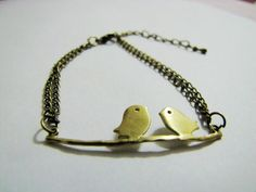Charming Ancient Bronze Birds Chain Wristband Cuff Bracelet Women Bracelet  by accessory365, $6.00