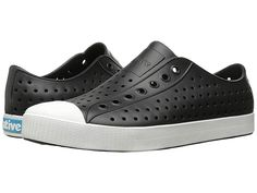 Native Shoes Jefferson (Jiffy Black/Shell White) Shoes Native Shoes has partnered with Zappos for Good to collect your well-loved Native Shoes and recycle them into community playground materials. Toe Shoes, Slip On Shoes, Foot Odor, Native Shoes, Thing 1, Black And White Shoes, Wide Feet, Sneakers Fashion, Footwear