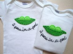 TWINS SET peas in a pod onesies white by EllieShea on Etsy