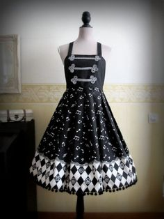 Black and white circus cabaret gothic lolita dress. €75.00, via Etsy.