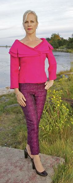 Hot pink Jacket, Hot pink Chinese brocade pants, Couture