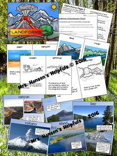 In this product I cover landforms and bodies of water for: glacier, valley, plain, canyon, plateau, volcano, lake, river, mountain, hill, peninsula, bay, island, cape, ocean, isthmus, coast, continent, gulf, mesa, archipelago, waterfall, and delta.
