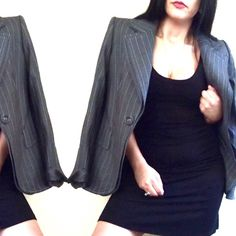 Escada grey with white pin stripes blazer Such a chic and transitional blazer by Escada. Use for the day at the office or maybe throw it over a dress for a night out! Size 40 can fit M-L oversized. Great condition Escada Jackets & Coats Blazers