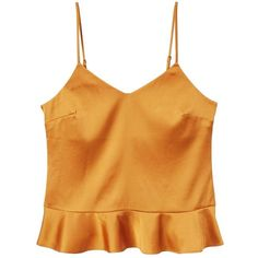Frilled Satin Top (€22) ❤ liked on Polyvore featuring tops, crop top, shirts, tanks, tank tops, satin shirt, yellow ruffle tank top, cropped shirts, crop tank and v neck tank