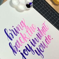 Quote: Angela Gwinner Brush: Pentel Aquash Brush, size small Watercolor: Dr. Ph. Martin's Radiant Water Colors in Tropic Pink (in brush) and Hyacinth Blue (picked up from palette tray) Paper: plain white cardstock ~~~~~~~~~~~~~~~ #kwdesign365quotes #drphmartinswatercolor #brushlettering