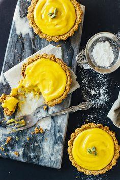 Mango Lassi Greek Yogurt Tarts with Almond Crust