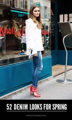 52 #denim #streetstyle looks to inspire your outfits.