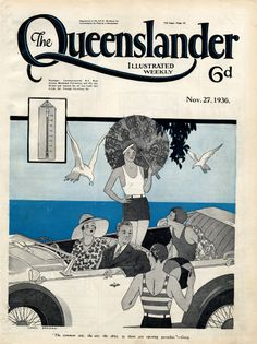 Vintage Poster Print - Cover from The Queenslander 1930 - Summer by the Sea, Gatsby style | State Library of Queensland Shop