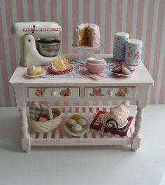 Miniature Bakers TableRESERVED for Sharon by CynthiasCottageShop