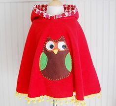 Owl Poncho Cape in Red with Apple Hood - by The Trendy Tot