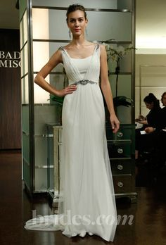 badgley mischka bride v-neck beaded sheath wedding dress fall 2013