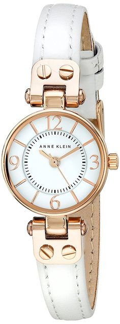 Anne Klein Women's AK/2030RGWT Rose Gold-Tone and White Leather Strap Watch *** Find out more about the great product at the image link.
