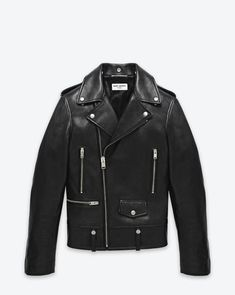 SAINT LAURENT CLASSIC MOTORCYCLE JACKET IN BLACK LEATHER