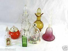 Lot of 7 Avon / California Empty Bottles Rose Point Bell Teapot Bell Jar