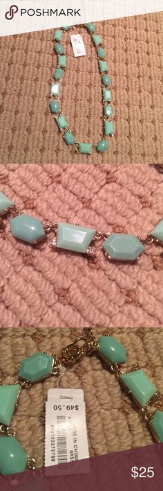 NWT JCREW Factory Statement Necklace Sea foam green statement necklace with tiny crystal accents. Never worn! J. Crew Jewelry Necklaces