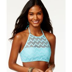 Hula Honey Chevron Crochet High-Neck Bikini Top ($25) ❤ liked on Polyvore featuring swimwear, bikinis, bikini tops, aqua, halter swim top, tankini top, beach bikini, crochet halter top and halter top