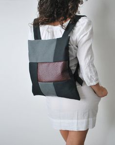 Geometric backpack Messenger bag Gray black by misirlouHandmade